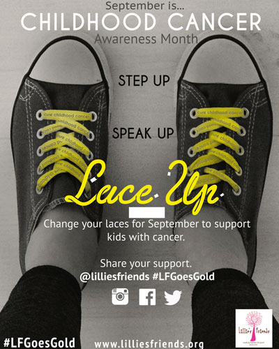 Lillie's Friends Childhood Cancer Awareness Events Shoelace Campaign
